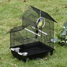 Load image into Gallery viewer, PawHut Metal Bird Cage with Plastic Perches Food Containers Swing Ring Tray Handle Small for Finch Canary Budgie Black 39 x 34 x 47 cm