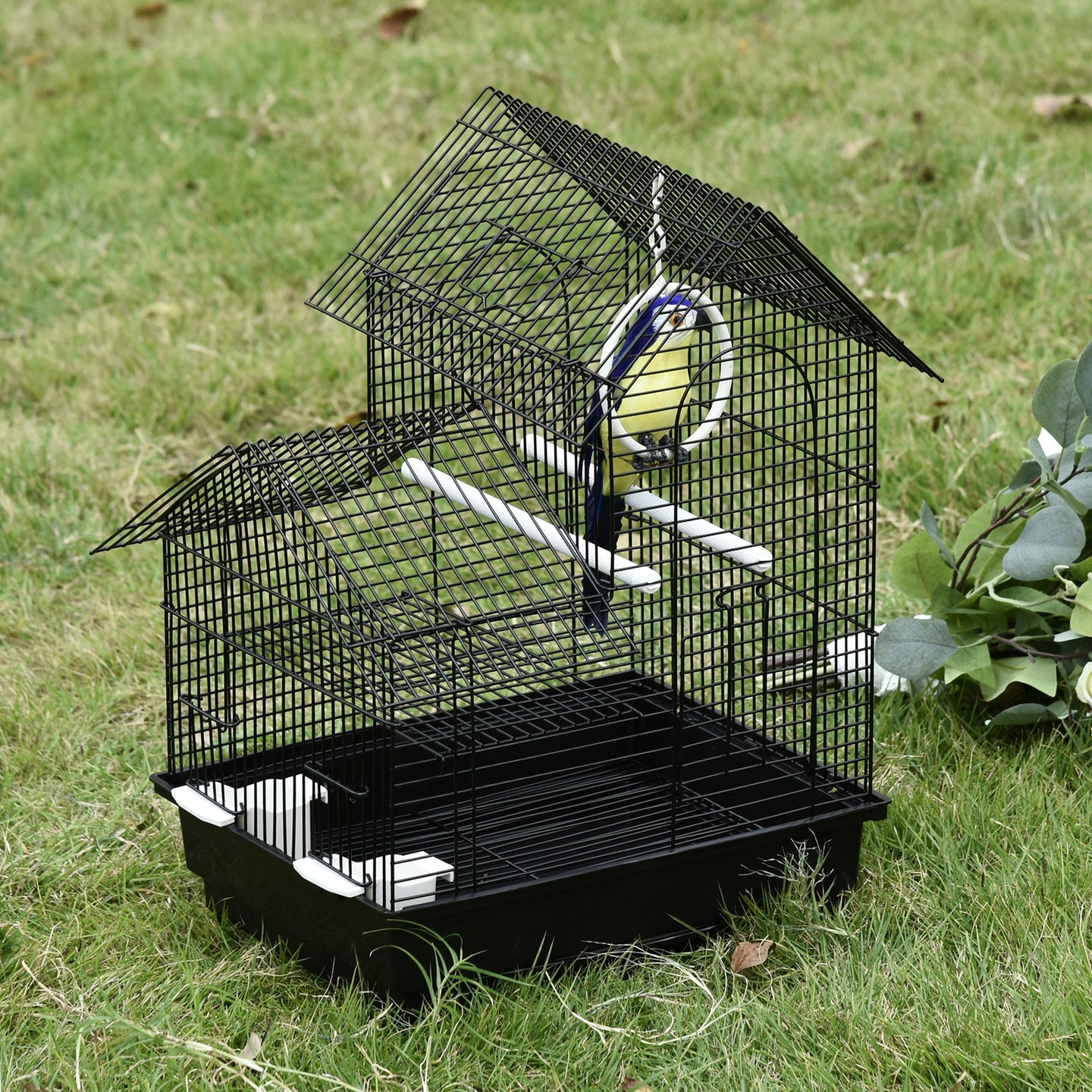 PawHut Metal Bird Cage with Plastic Perches Food Containers Swing Ring Tray Handle Small for Finch Canary Budgie Black 39 x 34 x 47 cm
