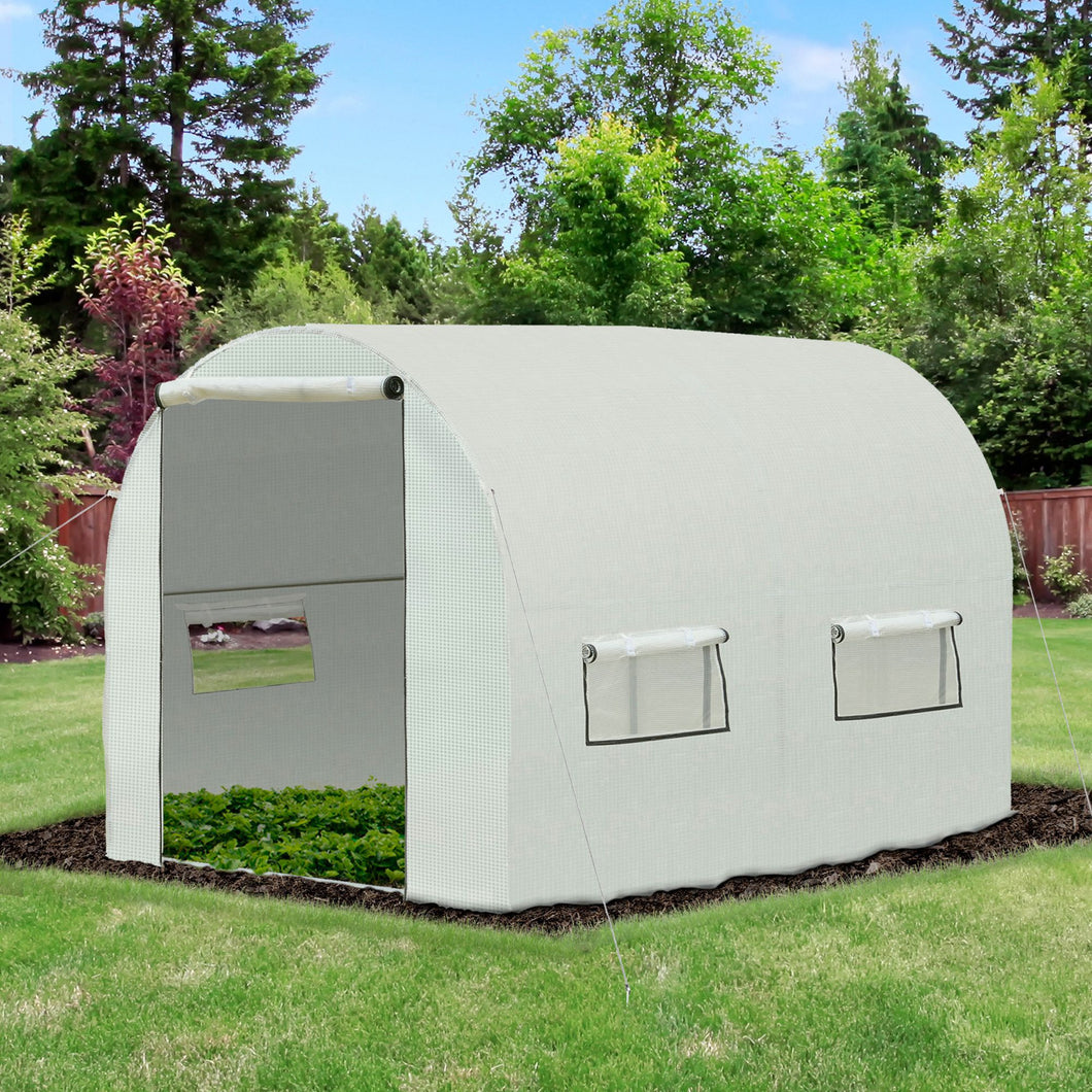 Outsunny Walk-in Polytunnel Lage Greenhouse with 2 Roll-Up Zipper Doors and 6 Roll-Up Windows , for Seedlings, Herbs, or Flowers, 4x2x1.9m, White