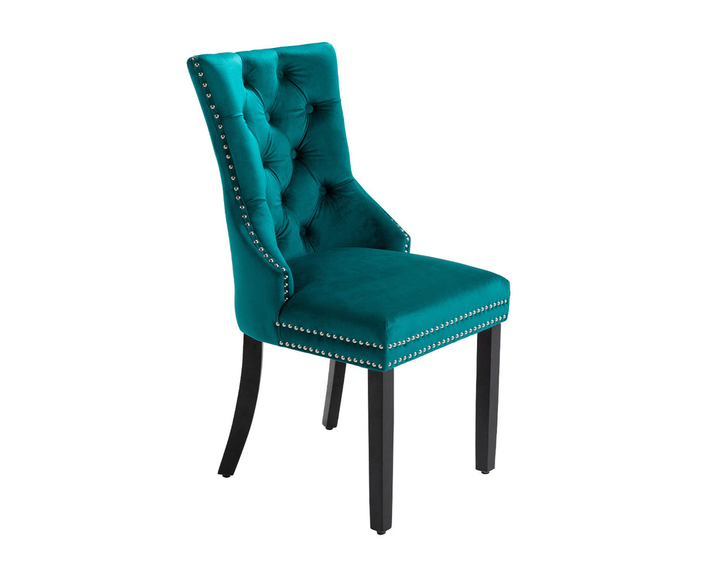 Ashford Dining Chair in Teal Velvet with Square Knocker And Black Legs