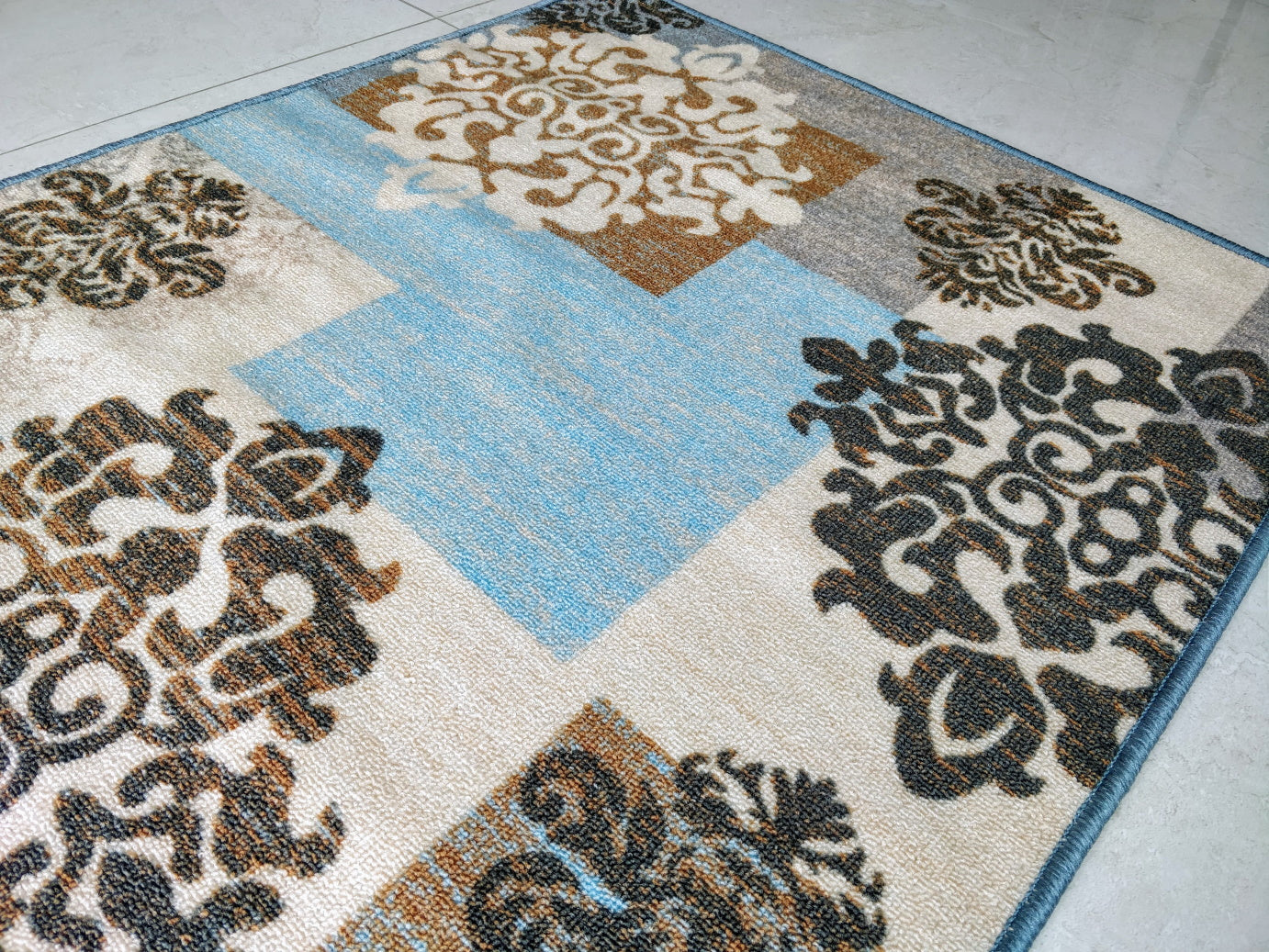 Blue Décor Style Polyester Area Rug / Runners Anti-Slip with latex back - 150x80 cm