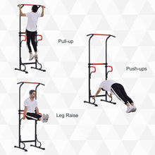 Load image into Gallery viewer, HOMCOM Steel Frame Multi-Use Exercise Power Tower Station Adjustable Height w/ Hand Grips Adjustable Feet Home Office Gym Training Workout Equipment