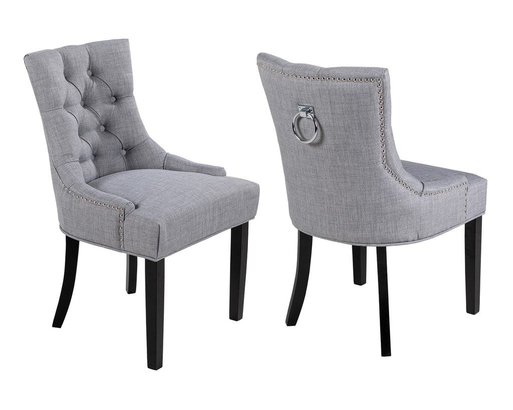 Pair of Scoop Back Verona Dining Chairs in Grey Linen with Chrome Knocker and Black Legs