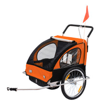 Load image into Gallery viewer, HOMCOM Steel Frame Children's 2-Seater Jogger Trailer Orange