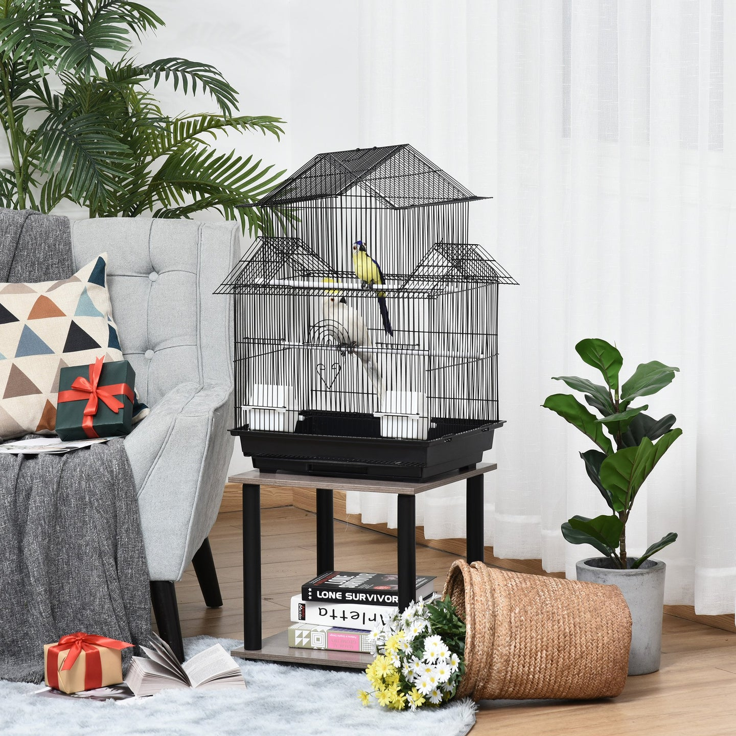 PawHut Metal Bird Cage with Plastic Perch Food Container Tray Handle Pet Supply Small for Finch Canary Budgie 51 x 47 x 67cm Black