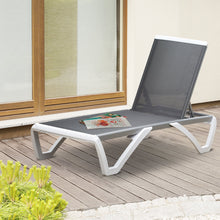 Load image into Gallery viewer, Outsunny Portable Outdoor Chaise Lounge, with Adjustable Back, Breathable Texteline, Light Grey