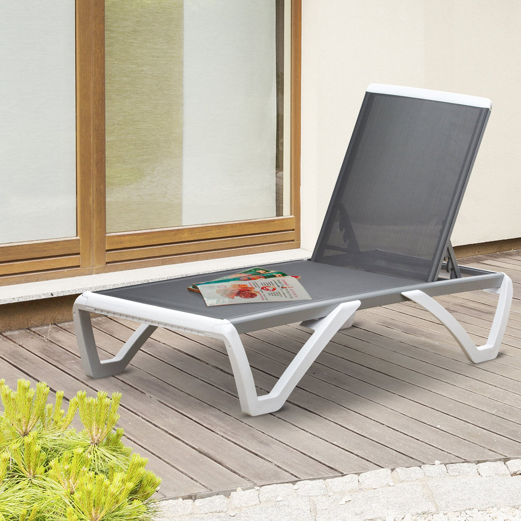 Outsunny Portable Outdoor Chaise Lounge, with Adjustable Back, Breathable Texteline, Light Grey