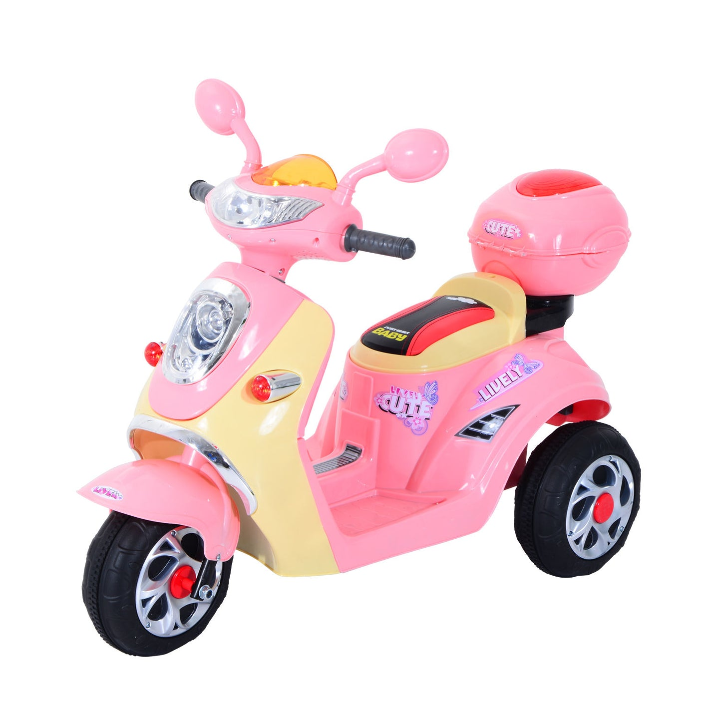 HOMCOM Electric Ride on Toy Tricycle Car-Pink