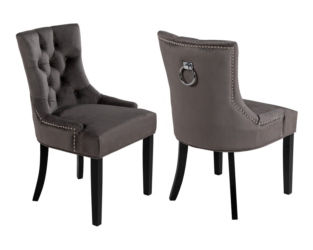 Pair of Scoop Back Verona Dining Chairs Grey Velvet with Black Legs and Chrome Knocker