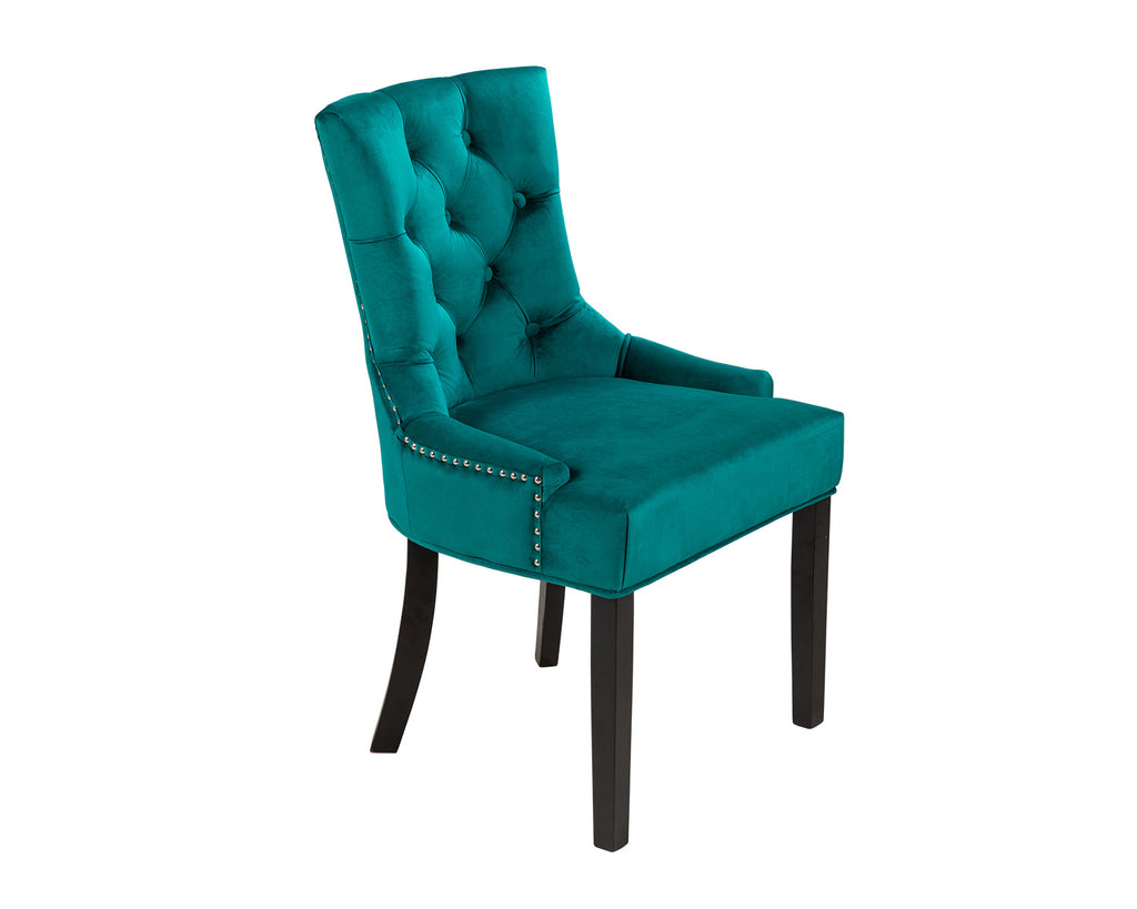 Verona Dining Chair in Teal Velvet with Chrome Knocker and Black Legs