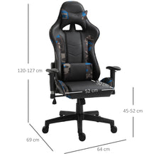 Load image into Gallery viewer, Vinsetto USB Massage Pillow Office Chair w/Camouflage Panels Ergonomic Swivel w/ 5 Wheels Adjustable Arms Height High Back Racing Gaming Blue
