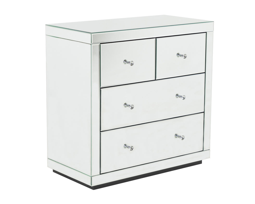 Monroe Silver Mirrored Chest 2 + 2 Drawers