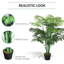 Load image into Gallery viewer, Outsunny Artificial Palm Tree Decorative Plant 18 Leaves with Nursery Pot, Fake Tropical Tree for Indoor Outdoor Décor, 125cm