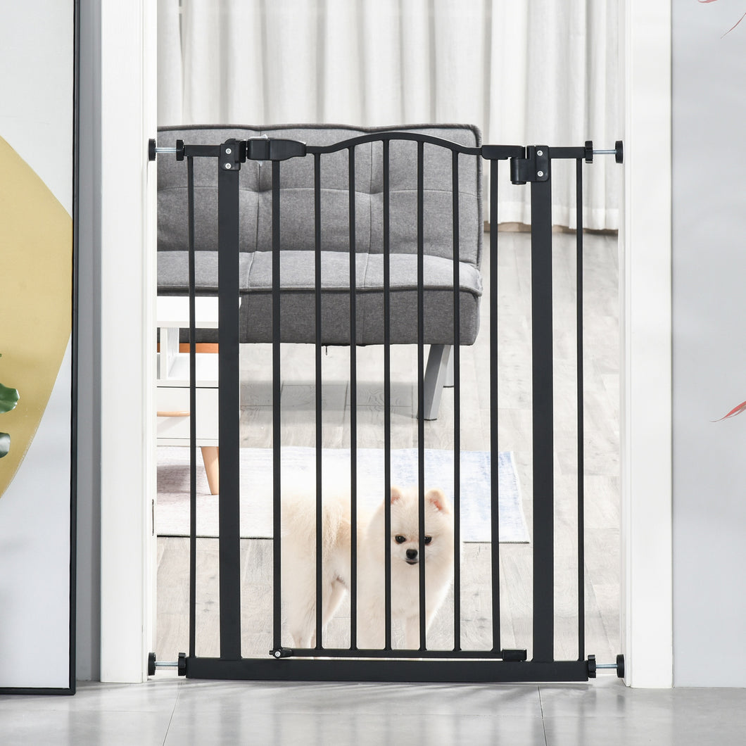 PawHut 74-84cm Adjustable Metal Pet Gate Safety Barrier w/ Auto-Close Door Double Locking Easy-Open Doors Stairs Home Frames Black