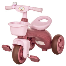 Load image into Gallery viewer, HOMCOM 3 Wheel Tricycle Kids Trike Ride-on Toy with Front Back Basket Bell for Toddlers Boys and Girls Age 3 to 6 Years Old Pink