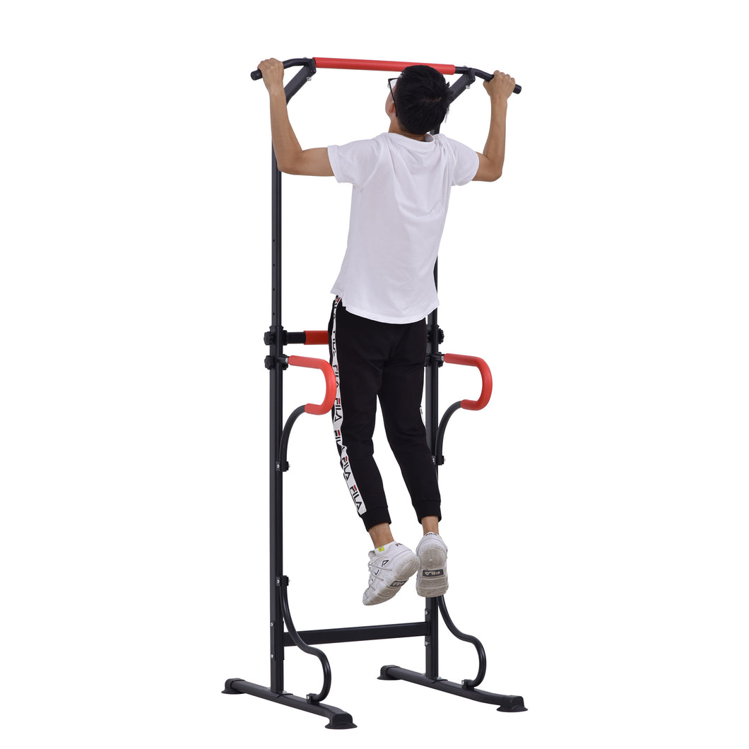 HOMCOM Steel Frame Multi-Use Exercise Power Tower Station Adjustable Height w/ Hand Grips Adjustable Feet Home Office Gym Training Workout Equipment