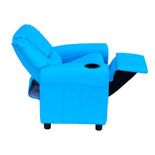 Load image into Gallery viewer, HOMCOM Childrens Recliner Armchair W/ Cup Holder-Blue