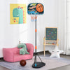 HOMCOM Kids Height Adjustable Aluminium Basketball Hoop Stand w/ Ball
