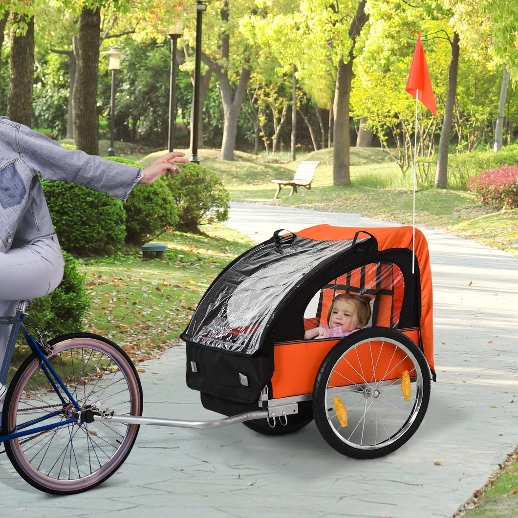 HOMCOM Steel Frame Children's 2-Seater Bicycle Trailer Orange