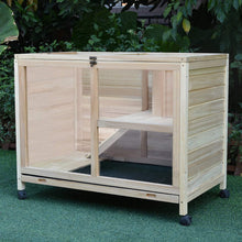Load image into Gallery viewer, PawHut Wooden Rabbit Hutch Guinea Pigs House Bunny Small Animal Cage W/Pull-out Tray Openable Roof Wheels 91.5 x 53.3 x 73 cm