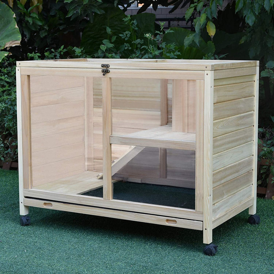 PawHut Wooden Rabbit Hutch Guinea Pigs House Bunny Small Animal Cage W/Pull-out Tray Openable Roof Wheels 91.5 x 53.3 x 73 cm