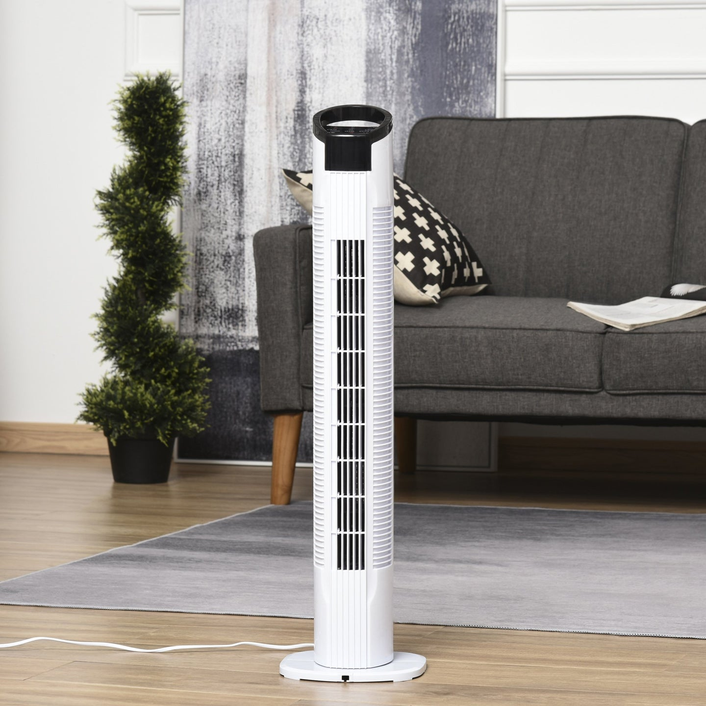 HOMCOM Freestanding Tower Fan, 3 Speed 3 Mode, 7.5h Timer, 70 Degree Oscillation, LED Panel, 5M Remote Controller, Black and White
