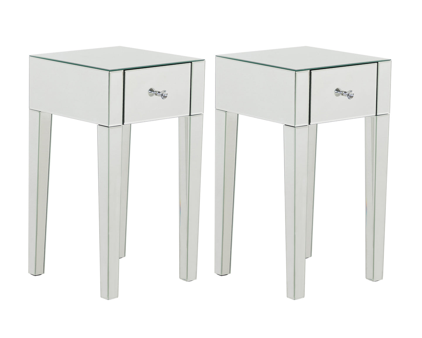 Monroe Silver Mirrored 1 Drawer Bedside Table Set