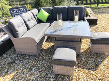 Load image into Gallery viewer, Rattan Garden Furniture Grey Sofa Dining Set With Adjustable Table