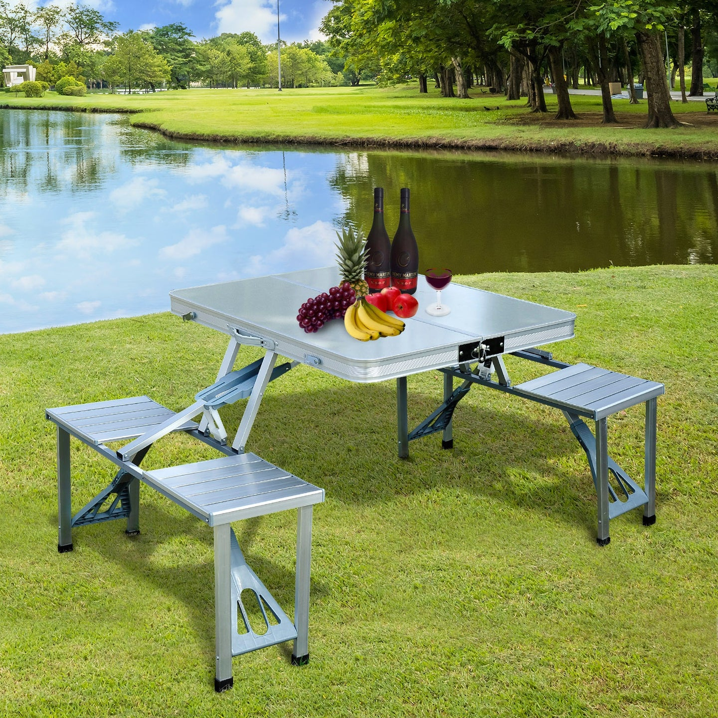 Outsunny Aluminum Portable Picnic Table Chair Set