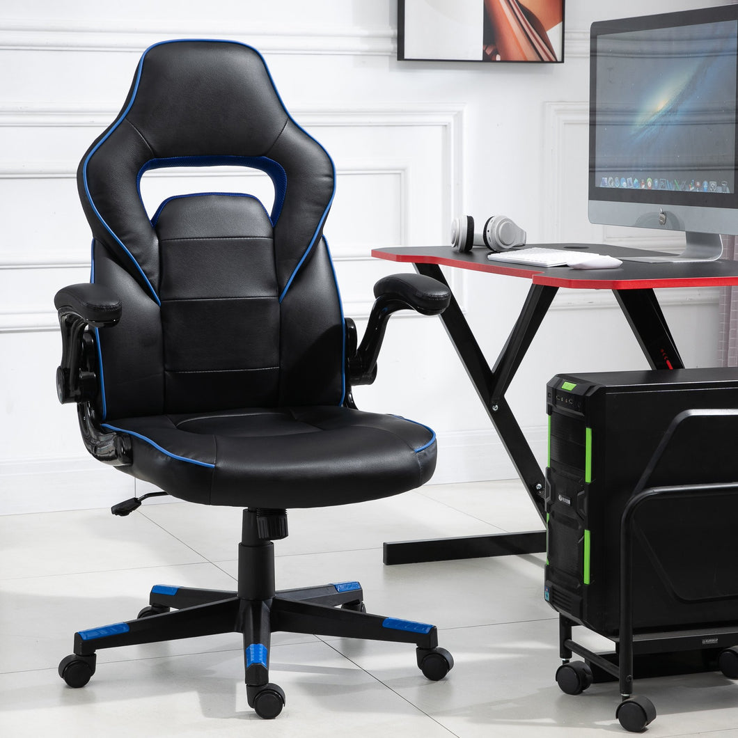 Vinsetto PU Leather Racing Style Gaming Office Chair Ergonomic Adjustable Height Arms 360 Swivel Rolling Black/Blue