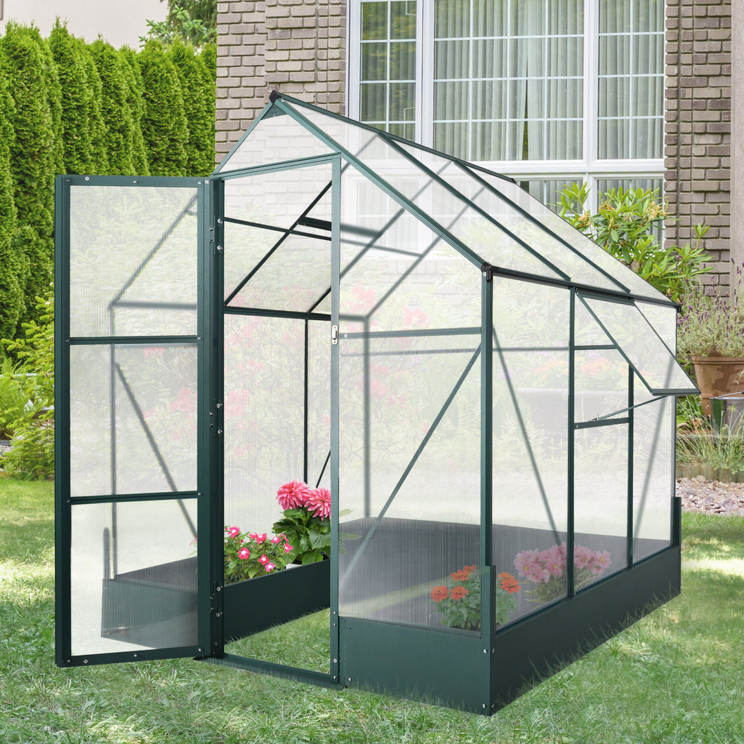 Outsunny Walk-in Greenhouse Outdoor Plant Garden, Temperature Controlled Window, with Foundation, 6.2x6.2ft