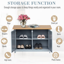 Load image into Gallery viewer, HOMCOM MDF Rustic 4-Compartment Storage Cabinet Grey