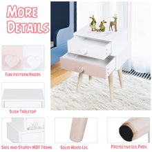 Load image into Gallery viewer, HOMCOM Kids MDF Heart-Shaped Handle Bedside Table Pink