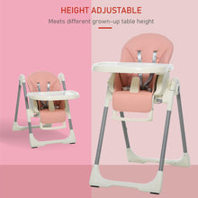 Load image into Gallery viewer, HOMCOM Foldable Baby High Chair Convertible to Toddler Chair Height Adjustable with Removable Tray 5-Point Harness Mobile with Wheels Pink