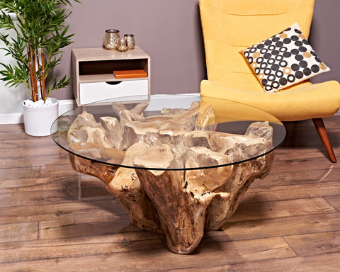 TEAK ROOT COFFEE TABLE RUSTIC ROUND