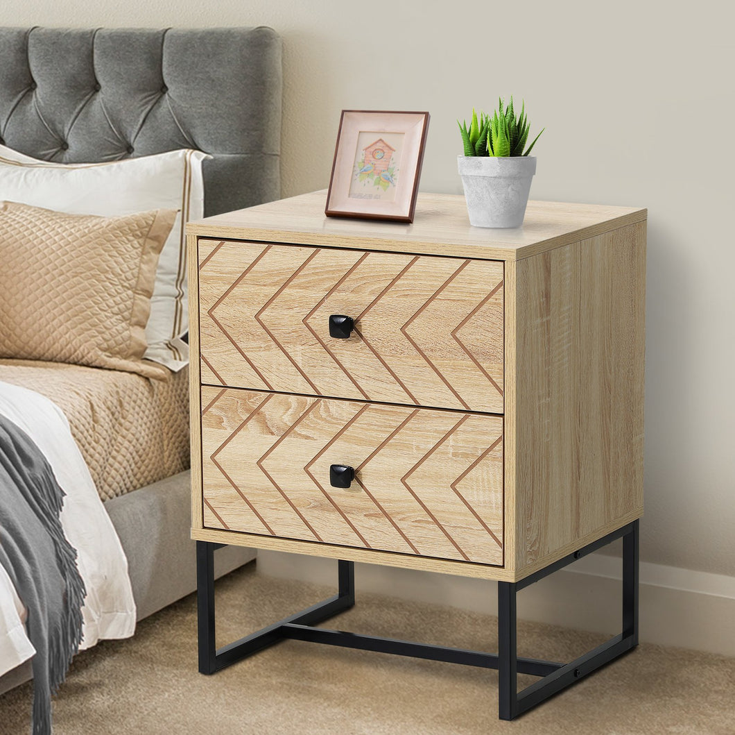 HOMCOM Bedside Table Nightstand Two-Draw Bedroom Storage Unit Unique Zig Zag Design w/Black Metal Handles Melamine Finish