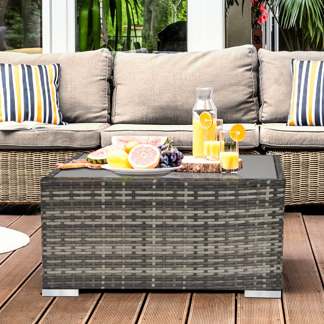 Outsunny Rattan Wicker Patio Coffee Table Ready to Use Outdoor Furniture Suitable for Garden Backyard Deep Grey