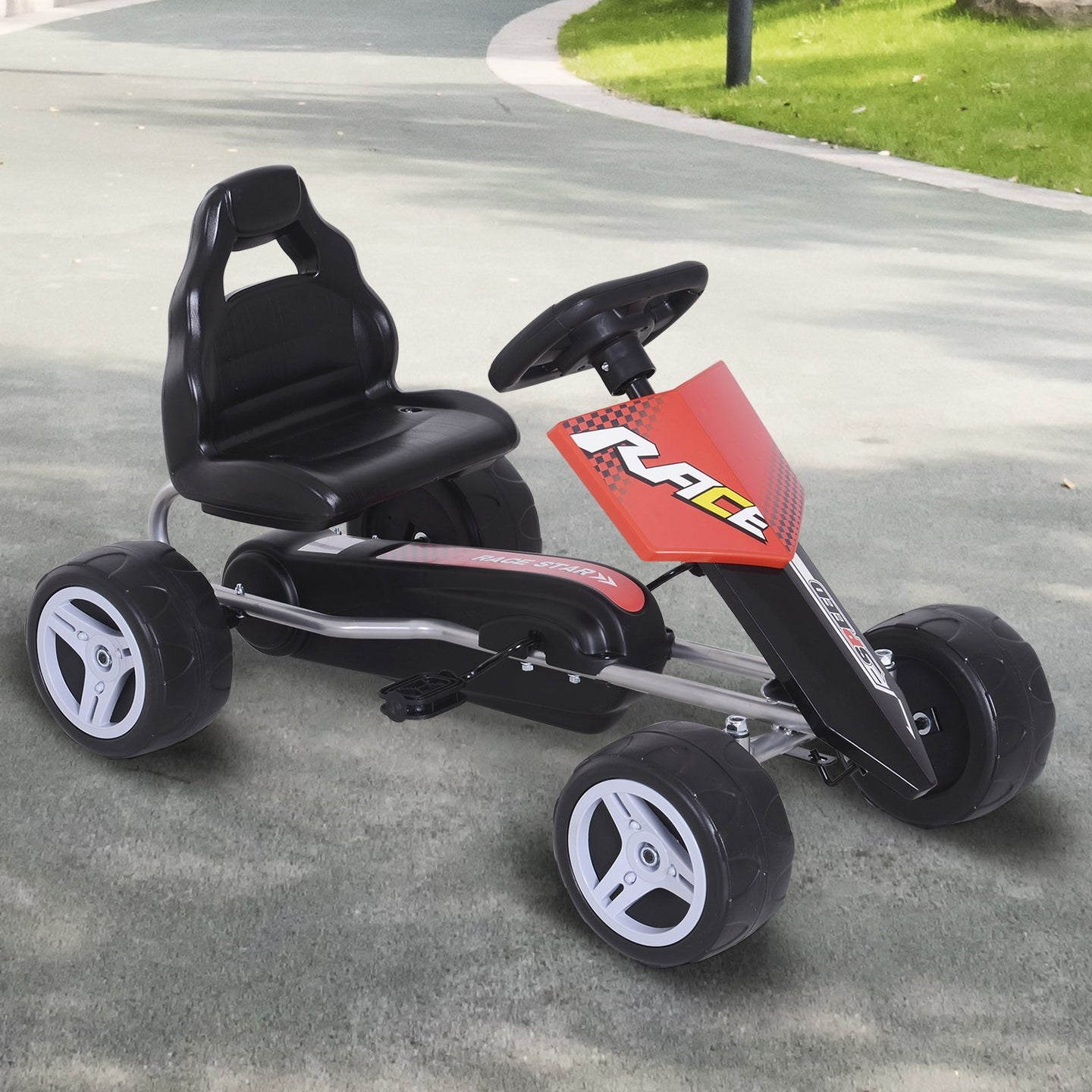 HOMCOM Kids Pedal Go Kart Ride-on, 80Lx49Wx50Hcm-Red/Black