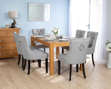 Load image into Gallery viewer, Rectangular Oak Dining Table and 6 Grey Linen Verona Dining Chairs with Black Legs