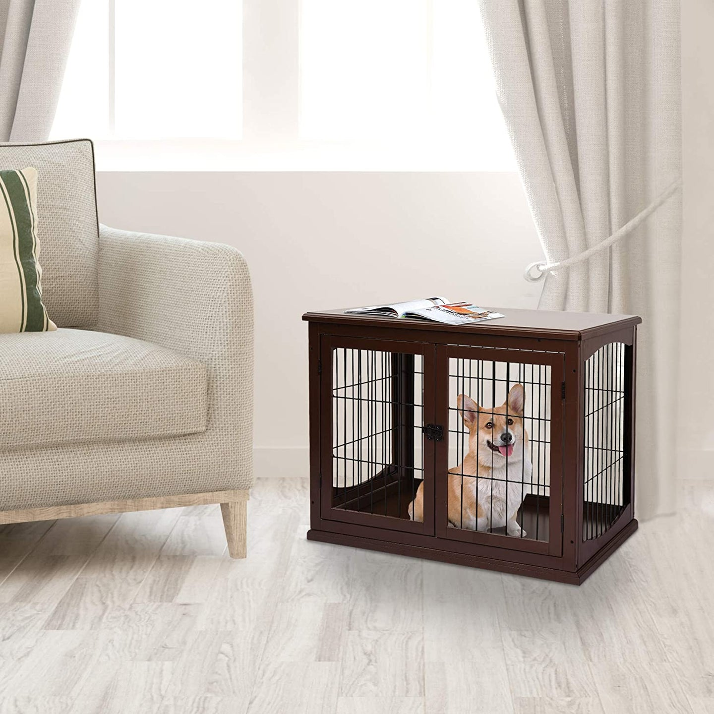 PawHut Pet Crate End Table Wooden Dog Kennel Cage w/Metal Wire 3 Doors Latches Small Animal House Modern Design Indoor Brown 58.5 x 81 x 66 cm