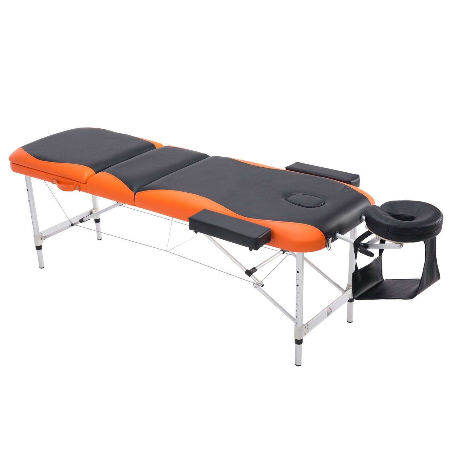 HOMCOM Professional Portable Massage Table W/ Headrest-Black/Orange