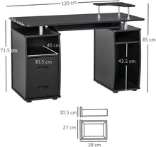 Load image into Gallery viewer, HOMCOM Computer Office Desk PC Table Workstation with Keyboard Tray, CPU Shelf, Drawers, Sliding Scanner Shelf, Black