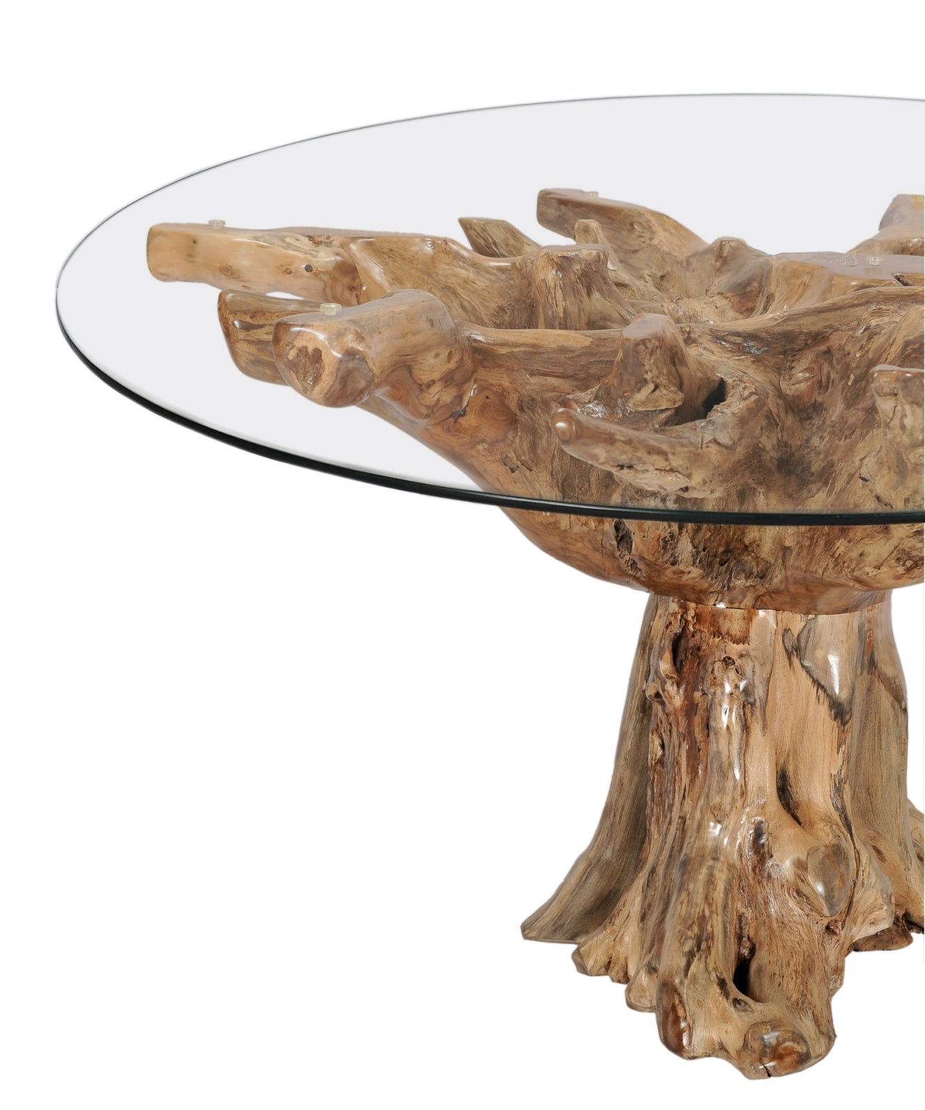 Teak root round dining table