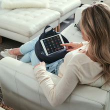 Load image into Gallery viewer, iBeani iPad Cushion & Tablet Pillow Stand - Securely holds any size tablet, eReader or book upto 12.9 inches, hands free comfort at any angle on any surface - Slate Grey