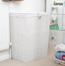 Load image into Gallery viewer, Arpan Resin Large Laundry Clothes Basket with Lid, Lock and Lining Storage Basket with Removable Lining 85 liters - White