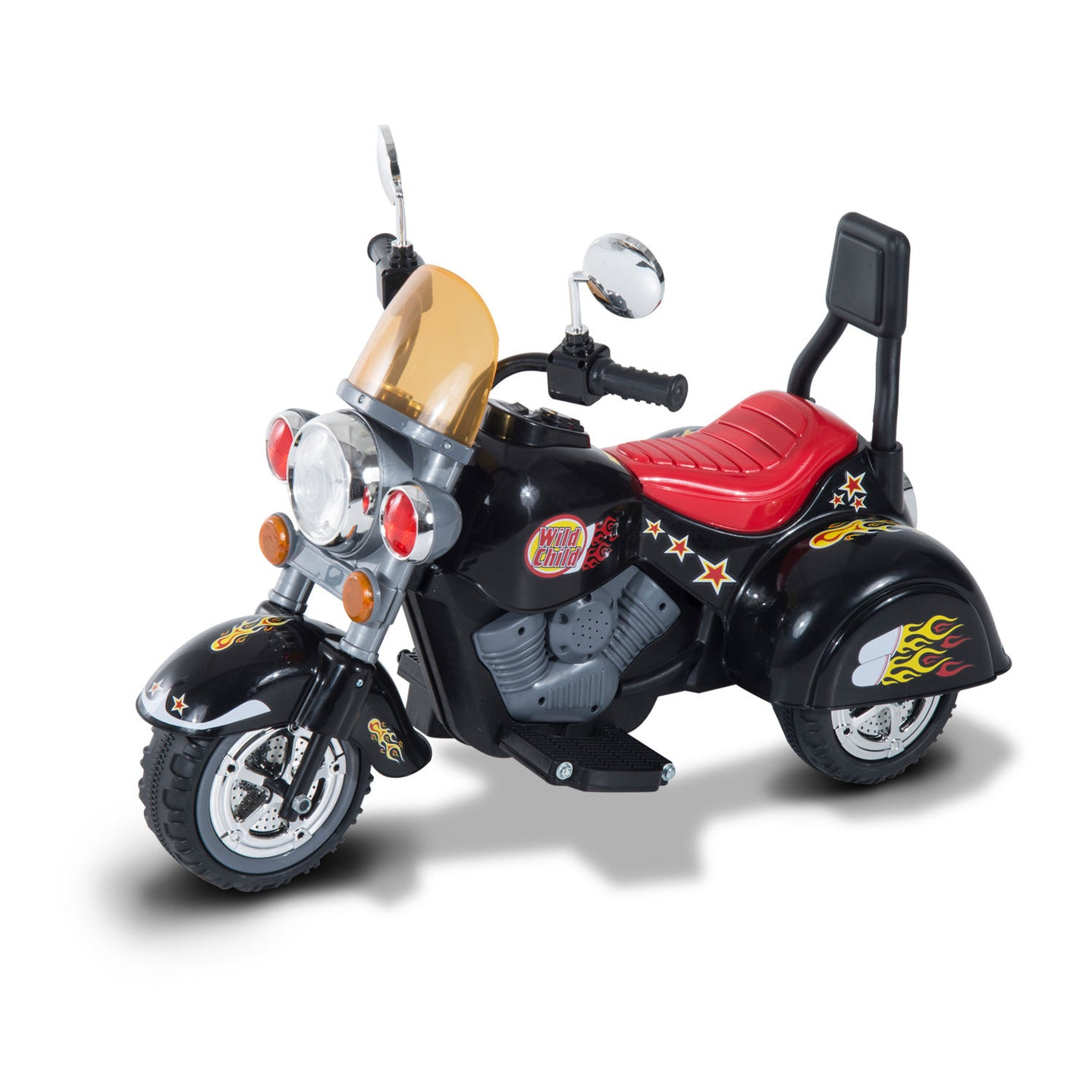 HOMCOM Children Ride On Toy Car Kids Motorbike Motorcycle Electric Scooter Motor Bicycle 6V Battery Operated Toy Trike (Black)
