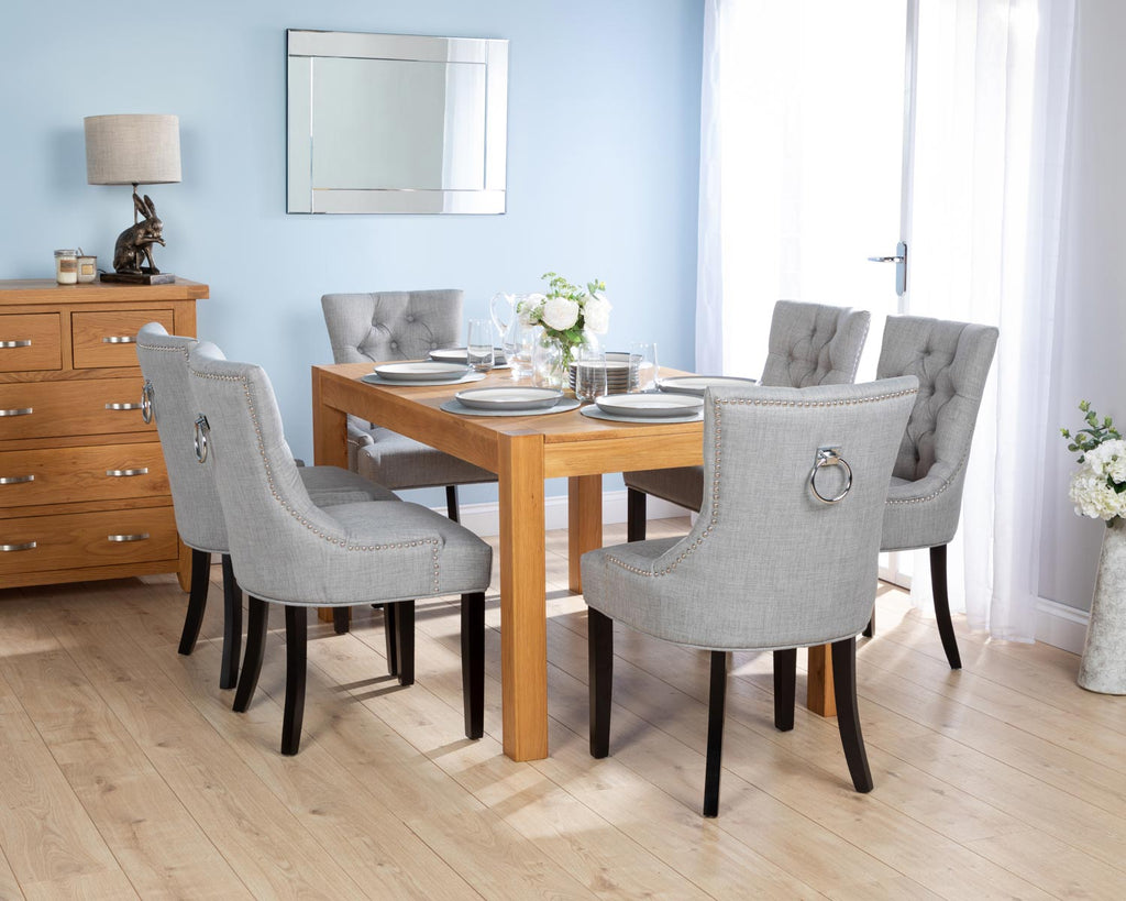 Rectangular Oak Dining Table and 6 Grey Linen Verona Dining Chairs with Black Legs