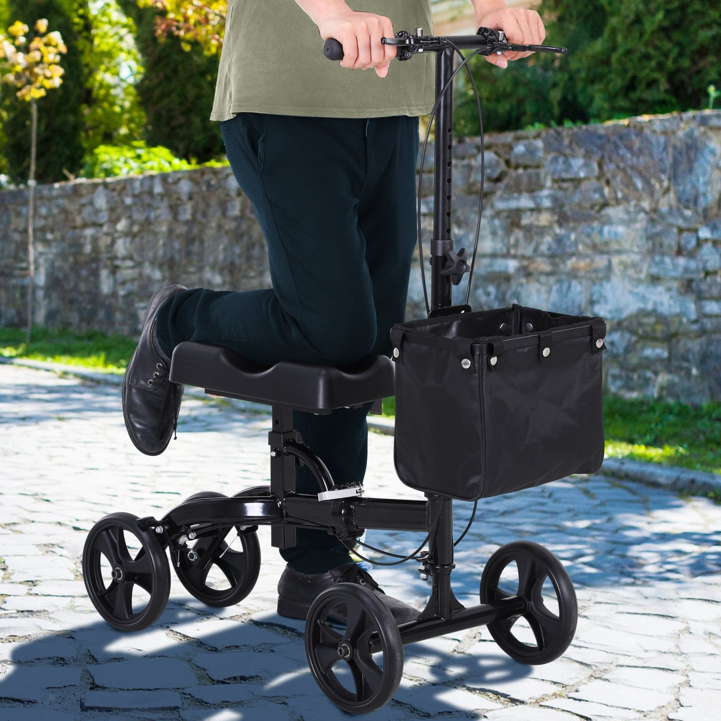 HOMCOM Metal Foldable Medical Knee Rest Walker Scooter w/ Storage Basket Black