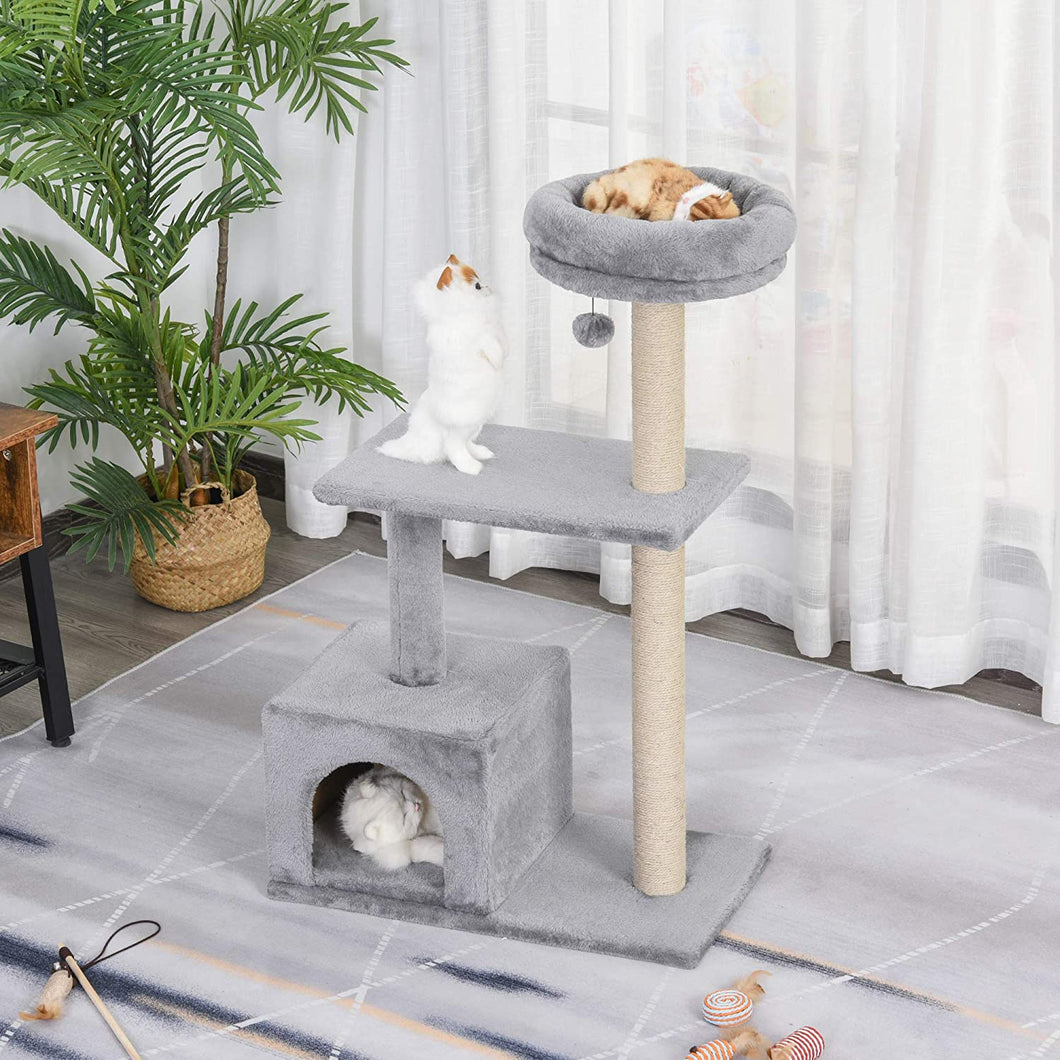 PawHut 96cm Cat Tree Condo Sisal Scratching Post Cat Tower Kitten Play House Dangling Ball Activity Center Furniture Grey