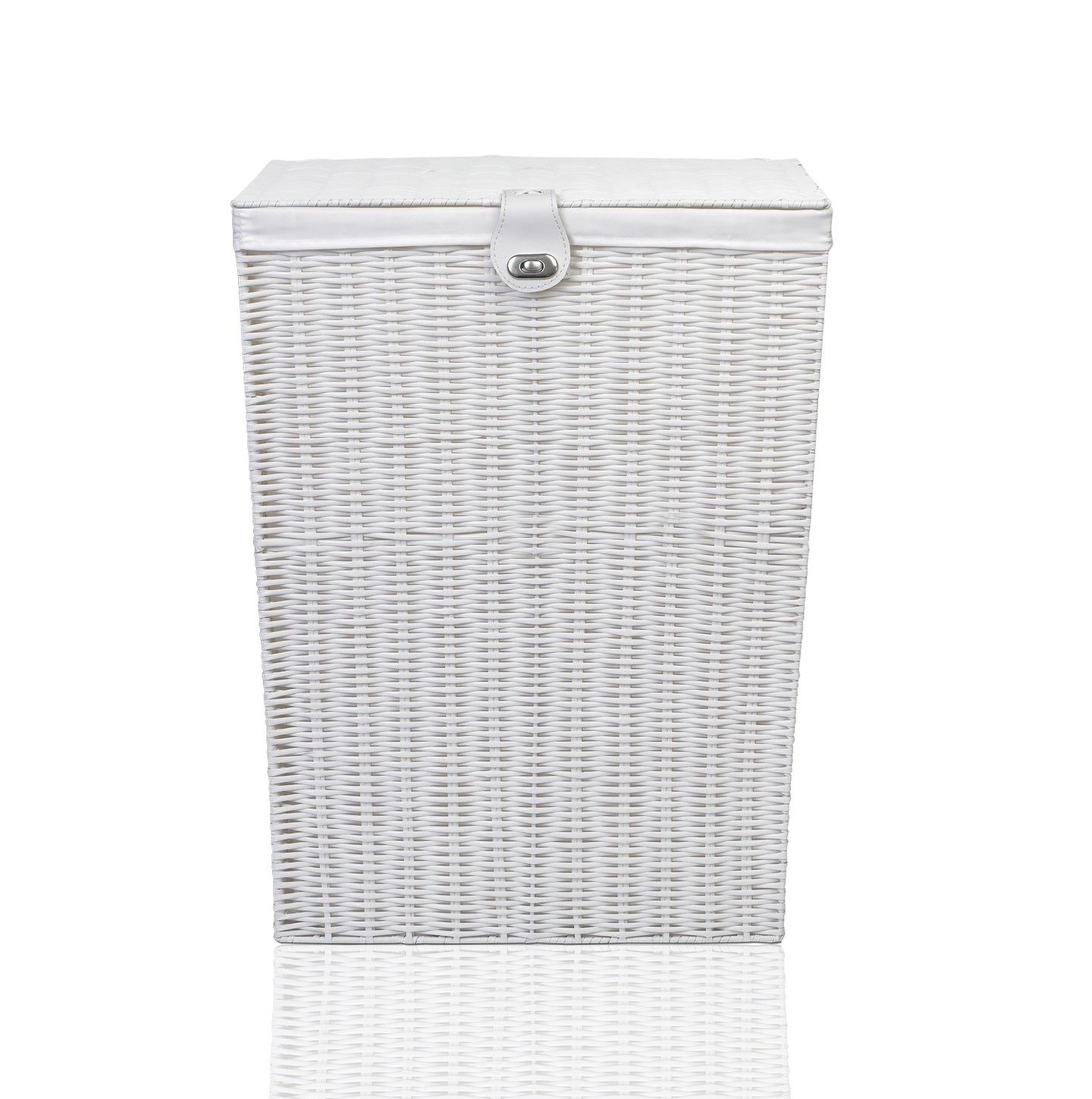 Arpan Medium Resin Laundry Clothes Basket with Lid and Lining Storage Basket with Removable Lining